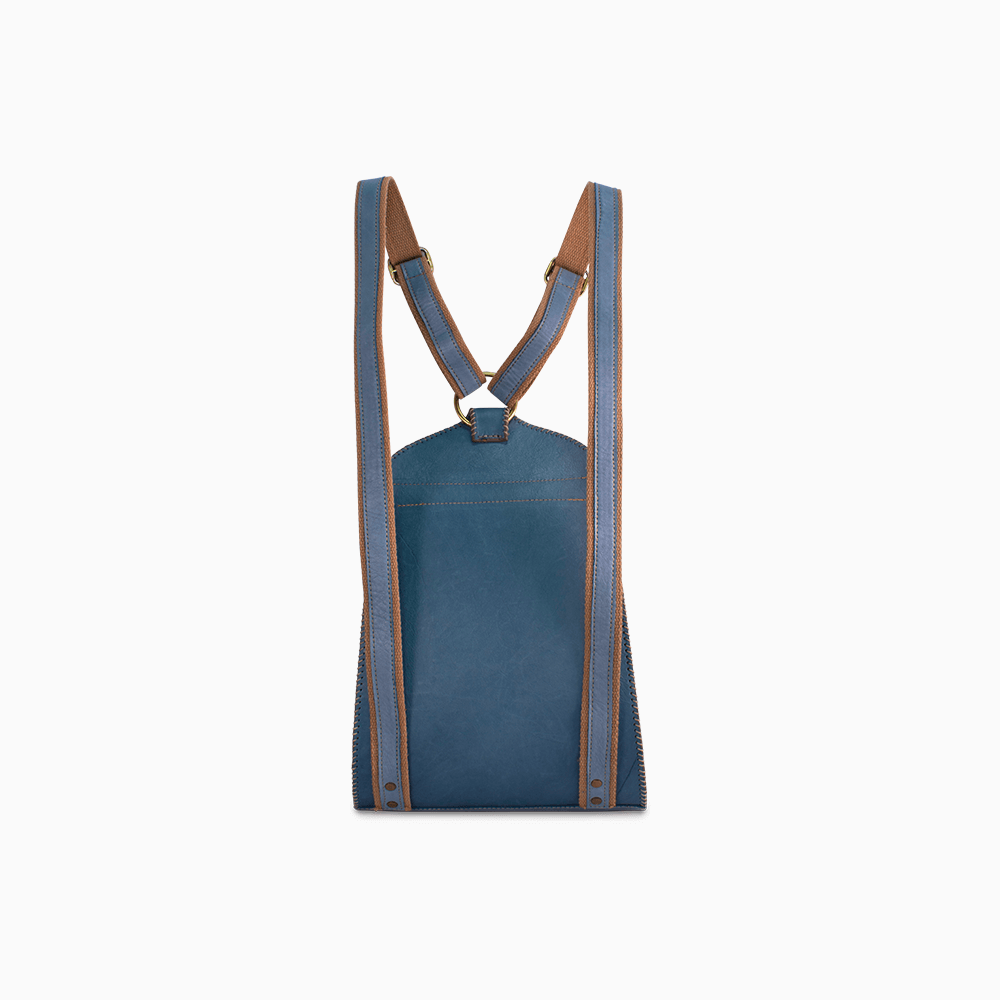 Rounded Leather Backpack - Light Blue
