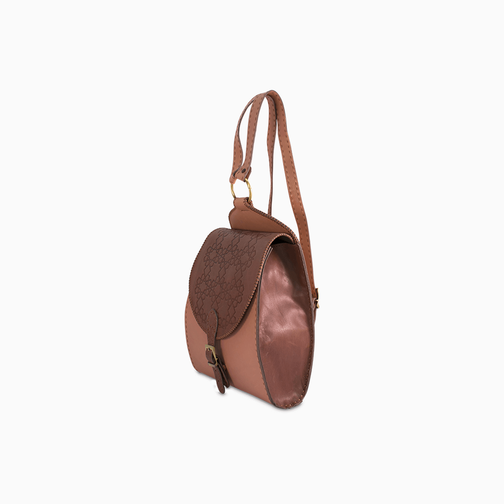 Rounded Leather Backpack - Mauve