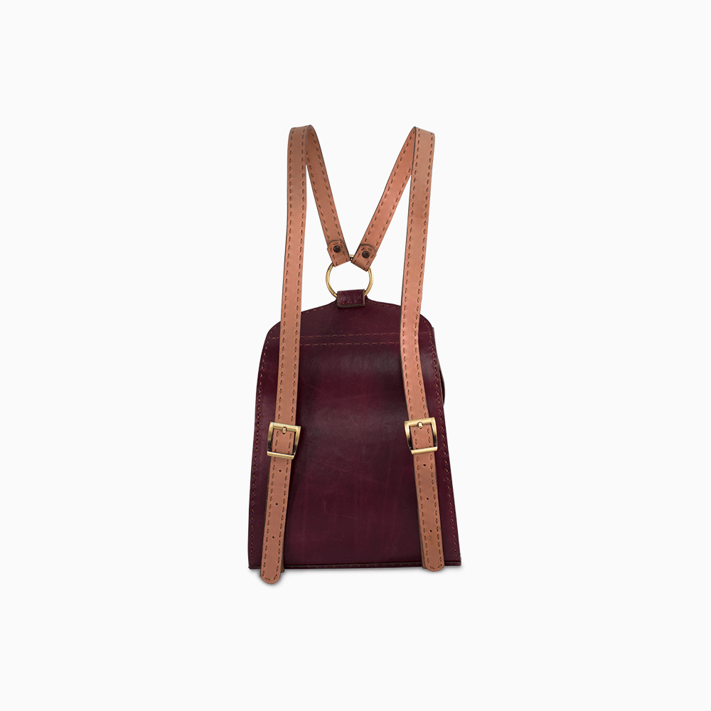 Rounded Leather Backpack - Burgundy