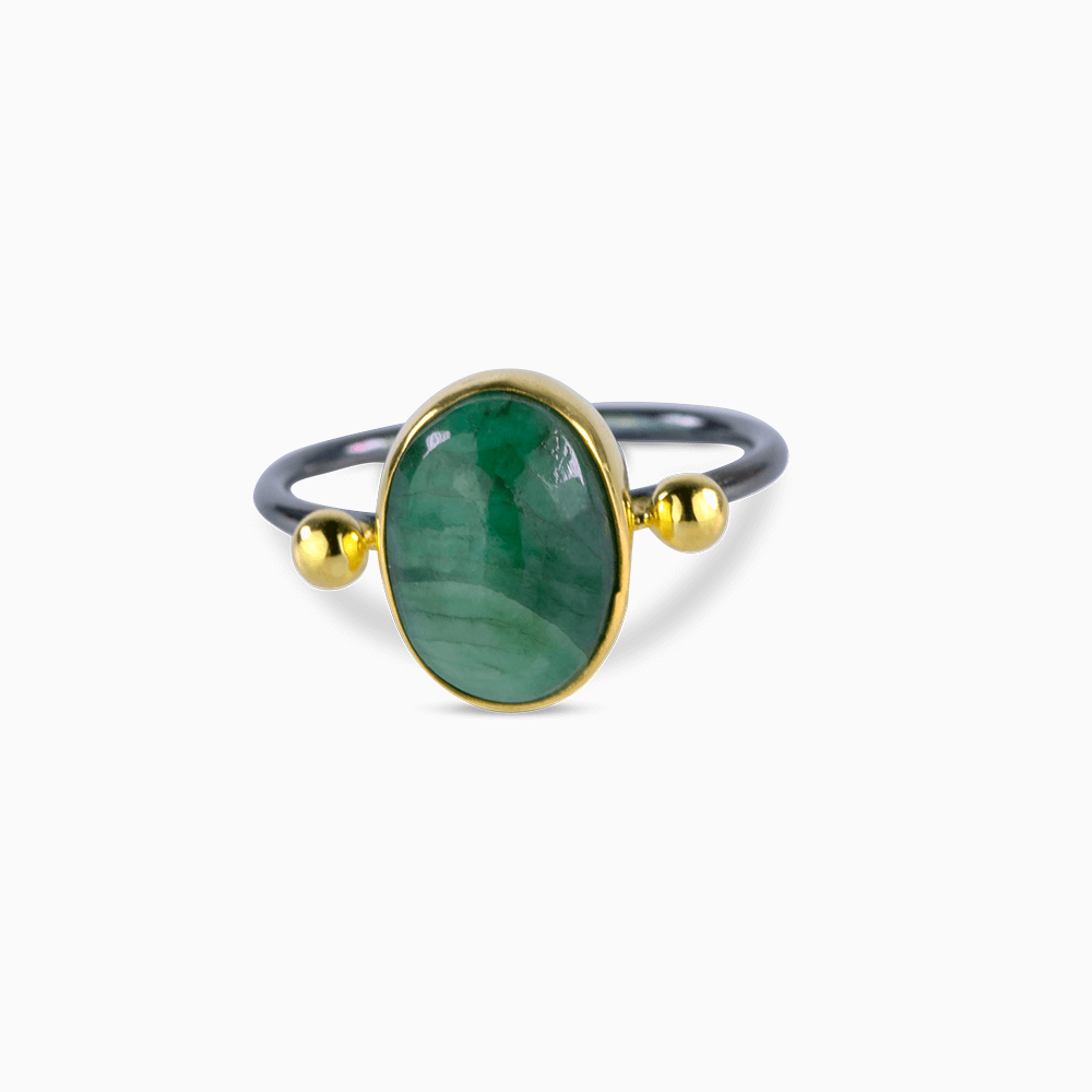 Two Dots Ring 7,5 - Emerald/Oval