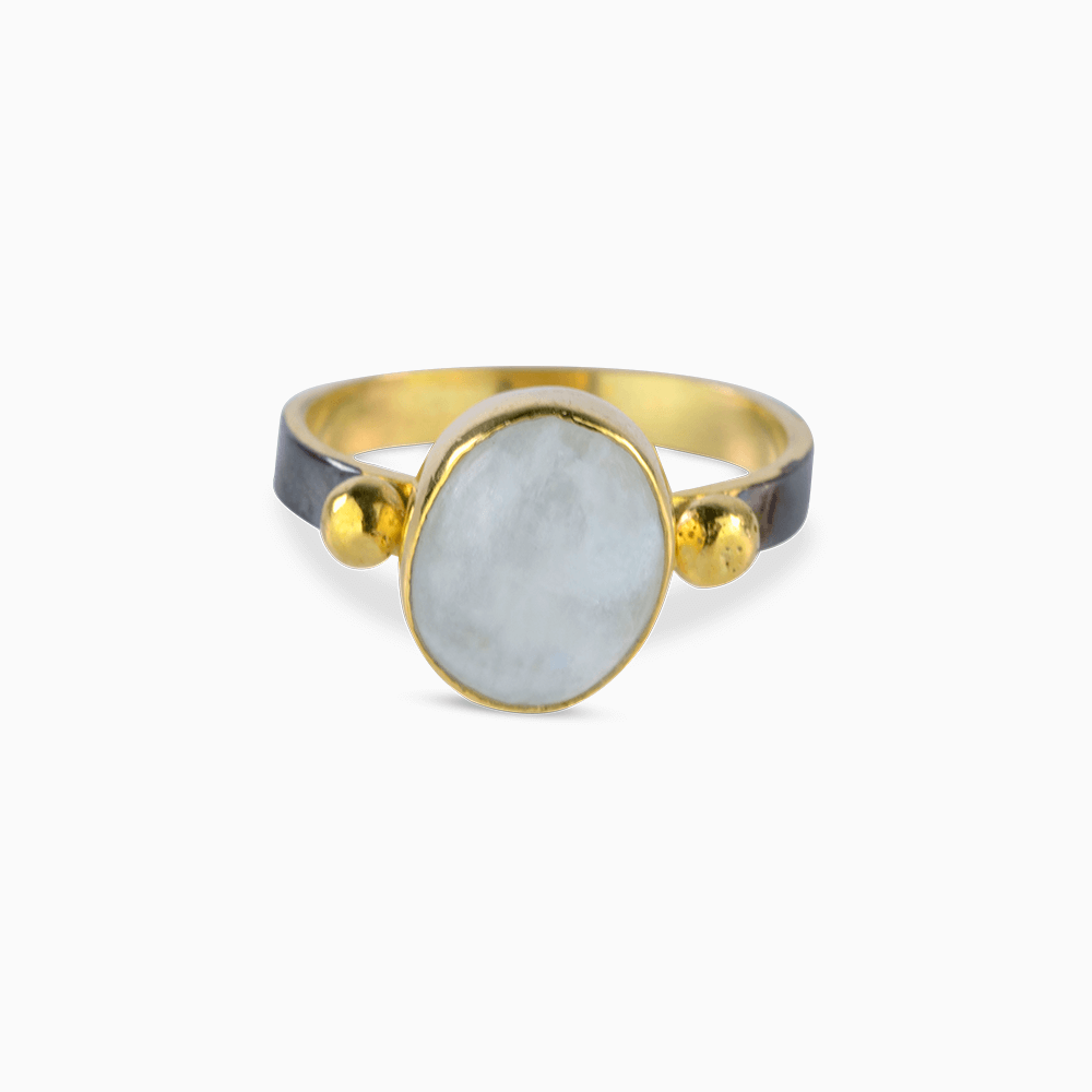 Two Dots Ring 9,25 - White Opal/Oval
