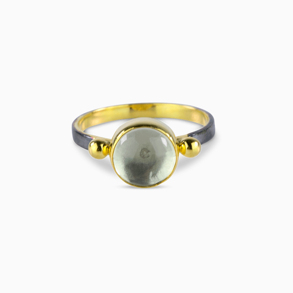 Two Dots Ring 7,5 - Clear Moonstone/Round