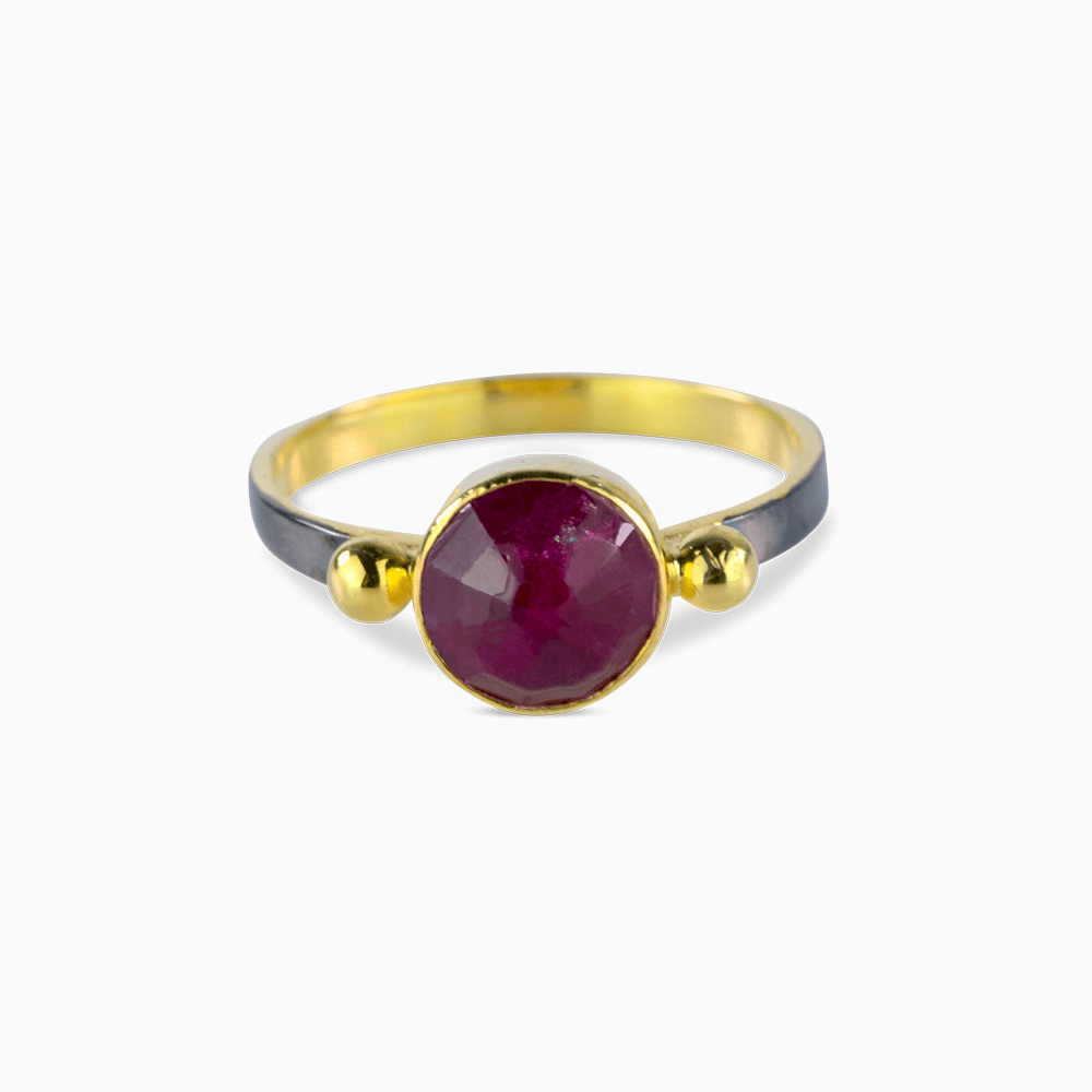Two Dots Ring 7,25 - Ruby/Round