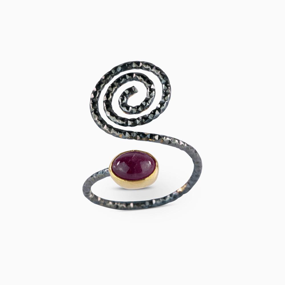 Spiral Ring 5,5 - Purple Tourmaline