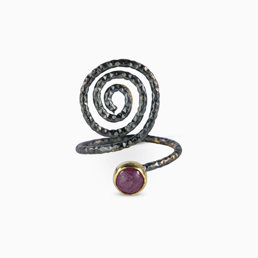 Spiral Ring 5,5 - Pink Tourmaline
