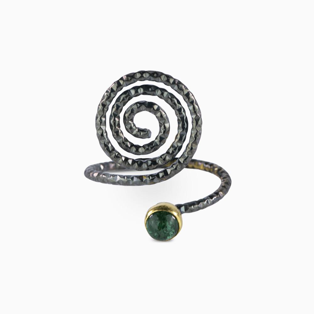 Spiral Ring 6 - Green Tourmaline