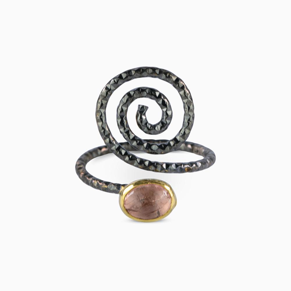 Spiral Ring 6 - Pink Tourmaline