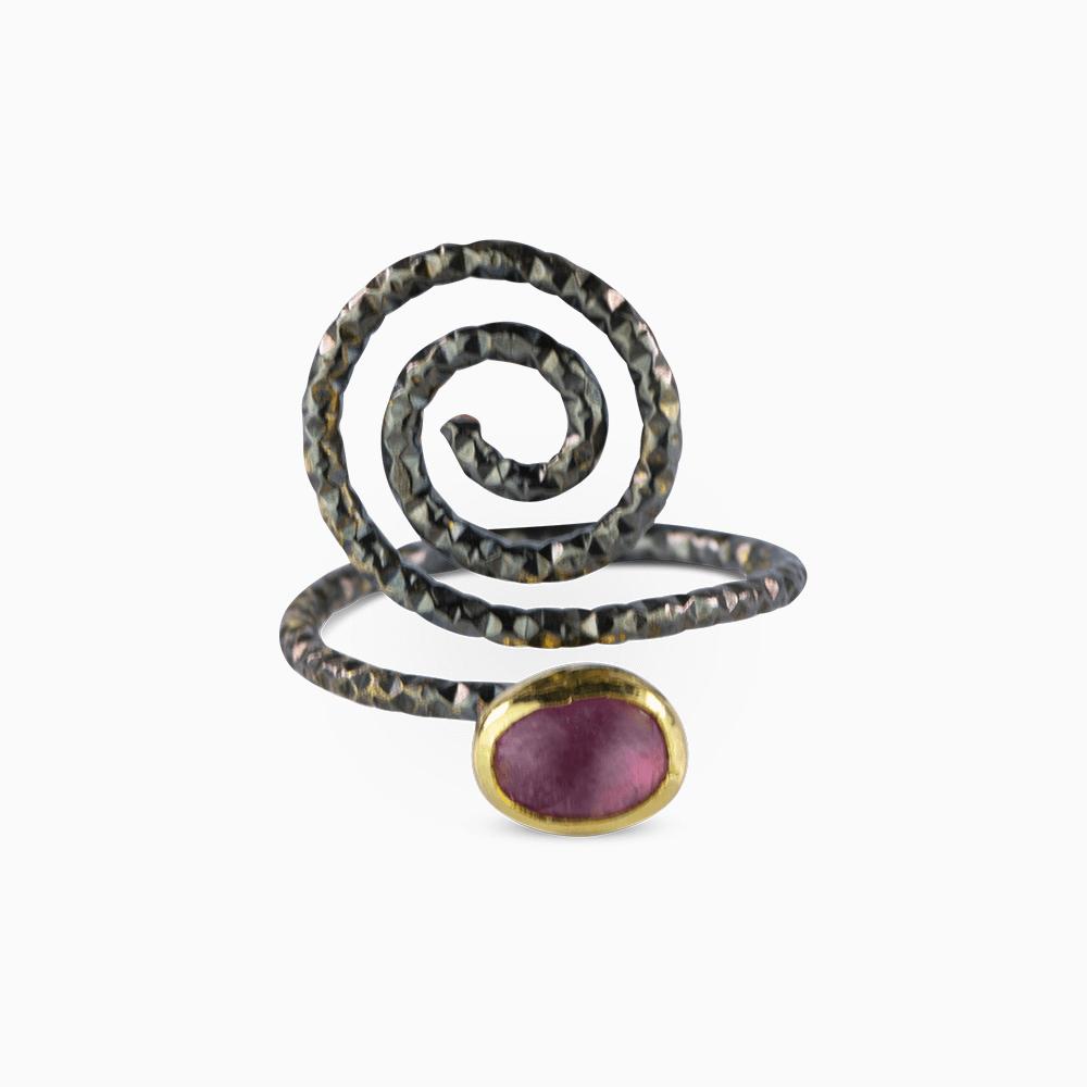 Spiral Ring 6 - Purple Tourmaline