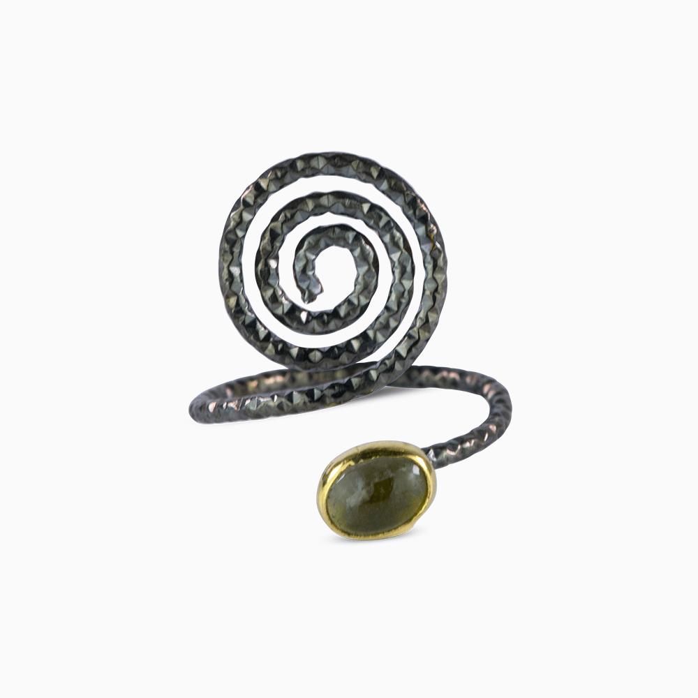 Spiral Ring 7 - Gray Tourmaline