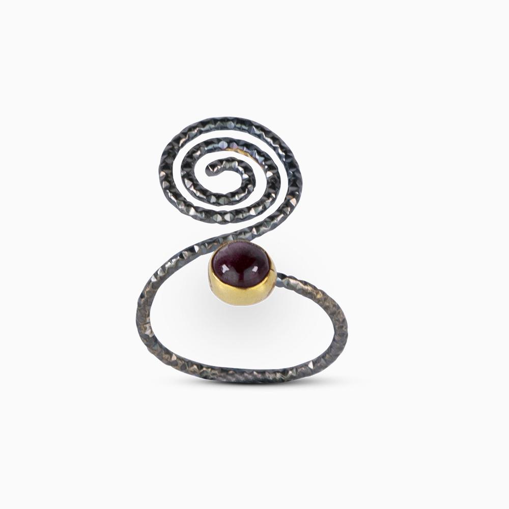 Spiral Ring 7 - Purple Tourmaline