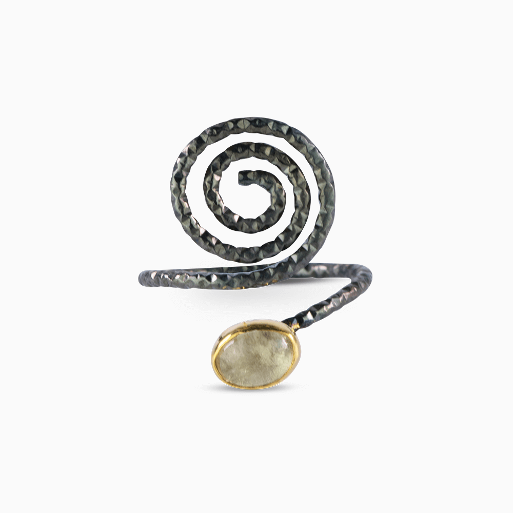 Spiral Ring 6 - Yellow Tourmaline