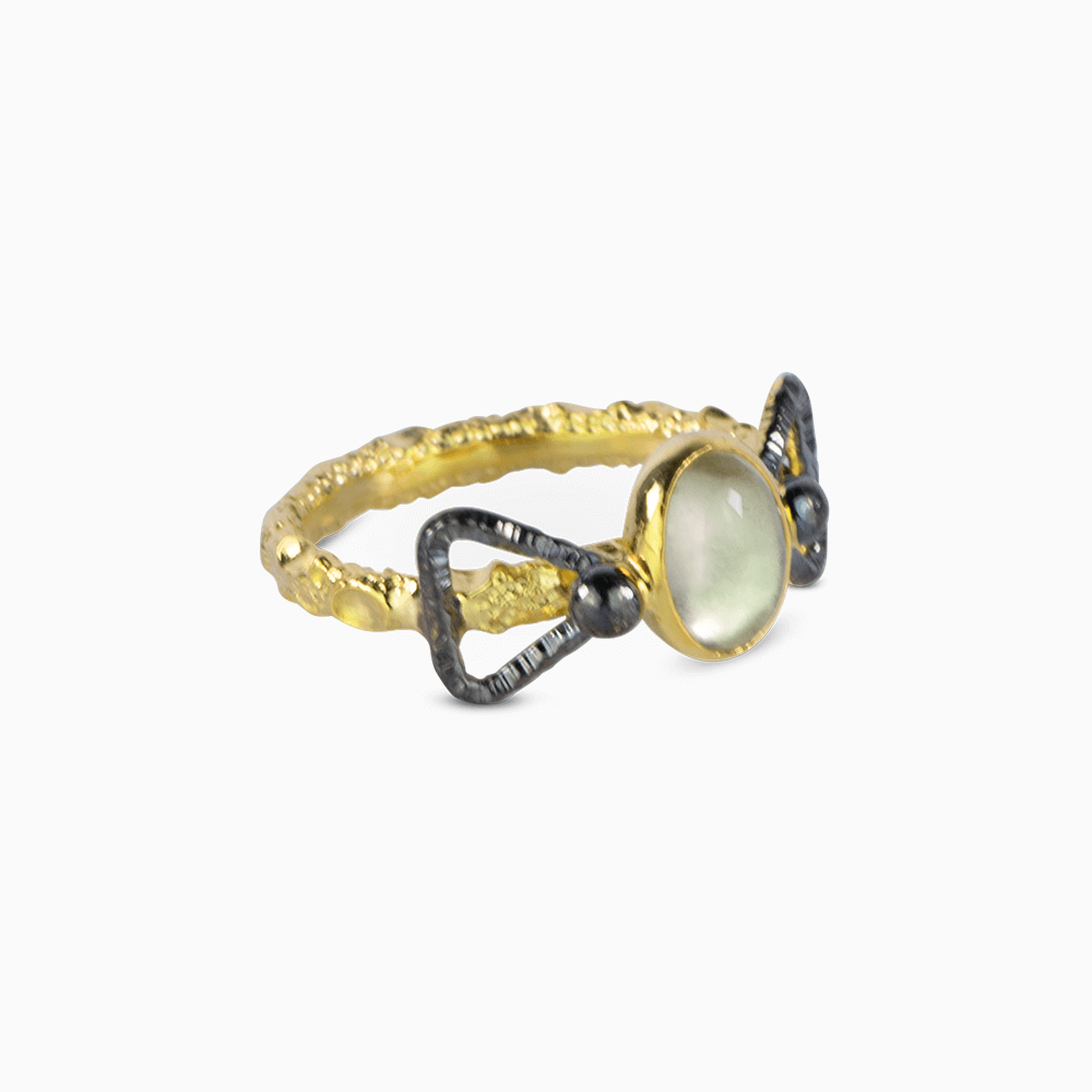 Bowtie Ring 7 - Clear Moonstone
