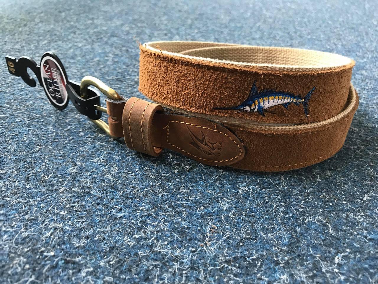 Ocean Rider Handmade Leather Marlin Embroided Belt
