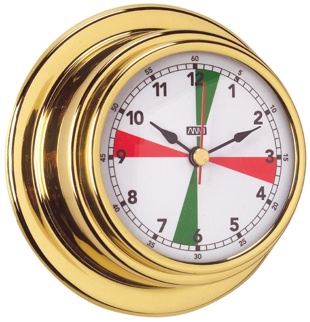 Clock - 70mm with Red/Green Radio Silence Zones Polished Brass