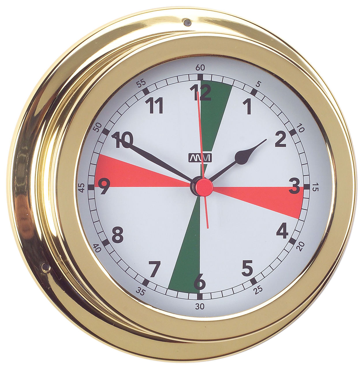Clock - 120mm with Red/Green Radio Silence Zones Polished Brass