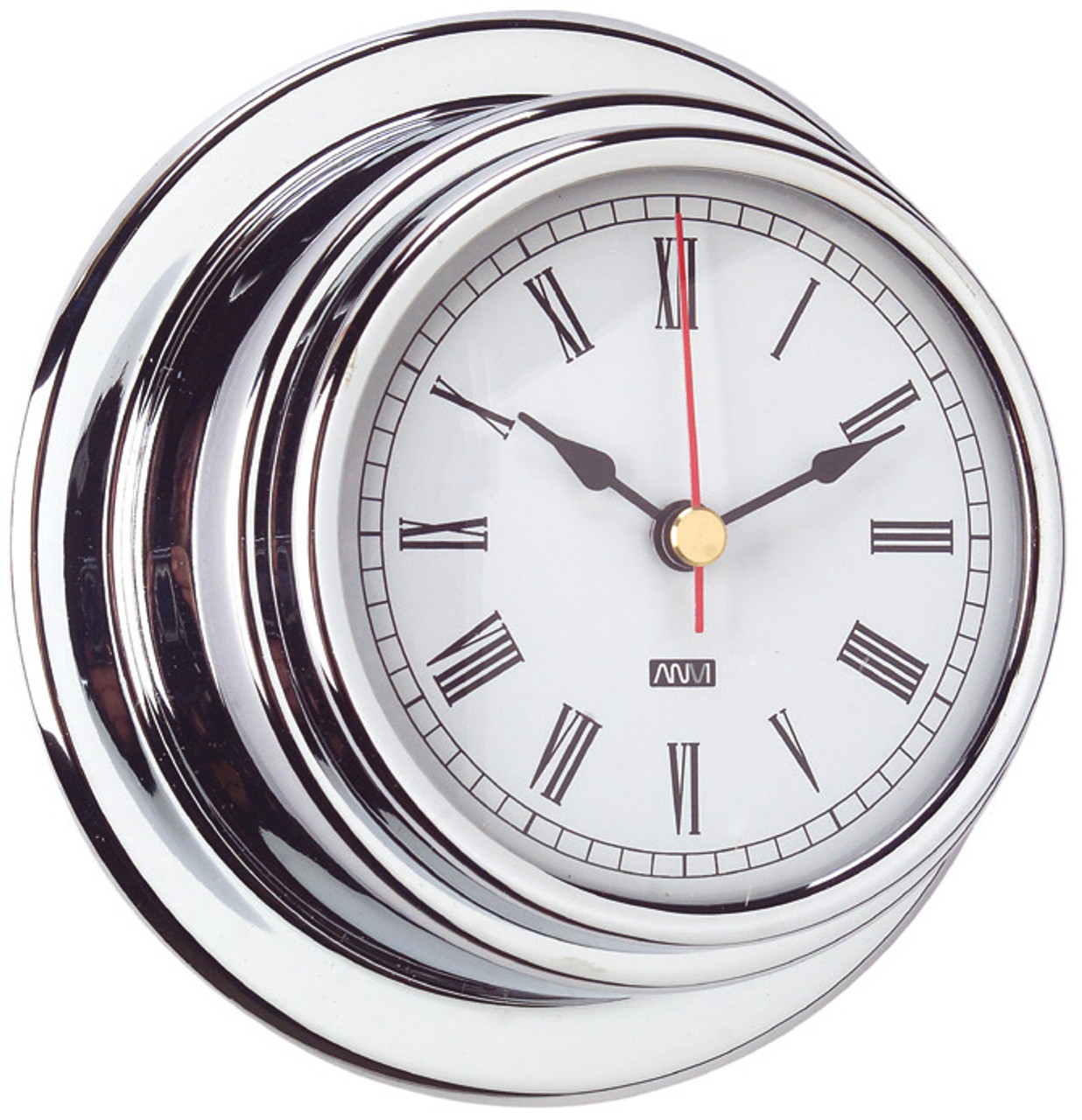 Clock - 120mm Chrome Plated Brass with Roman numerals