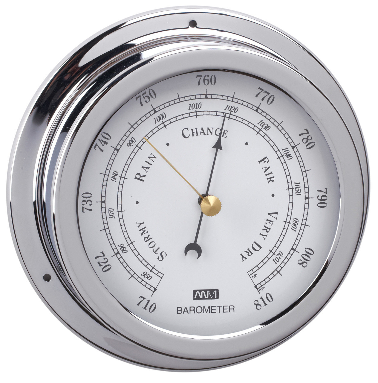 Barometer - 120mm Chrome Plated Brass
