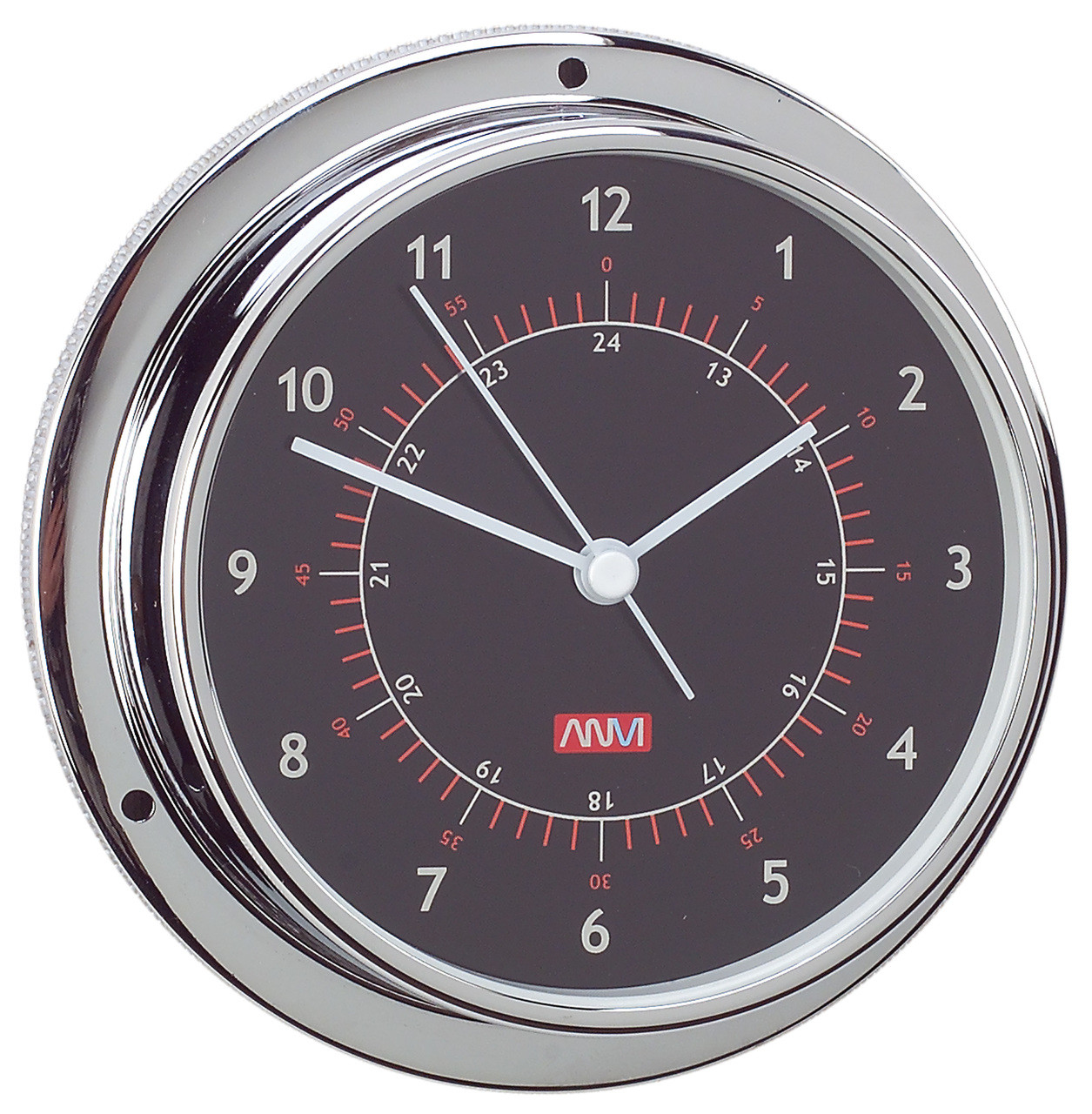Clock - 95mm Chrome Plated Brass with Black Face