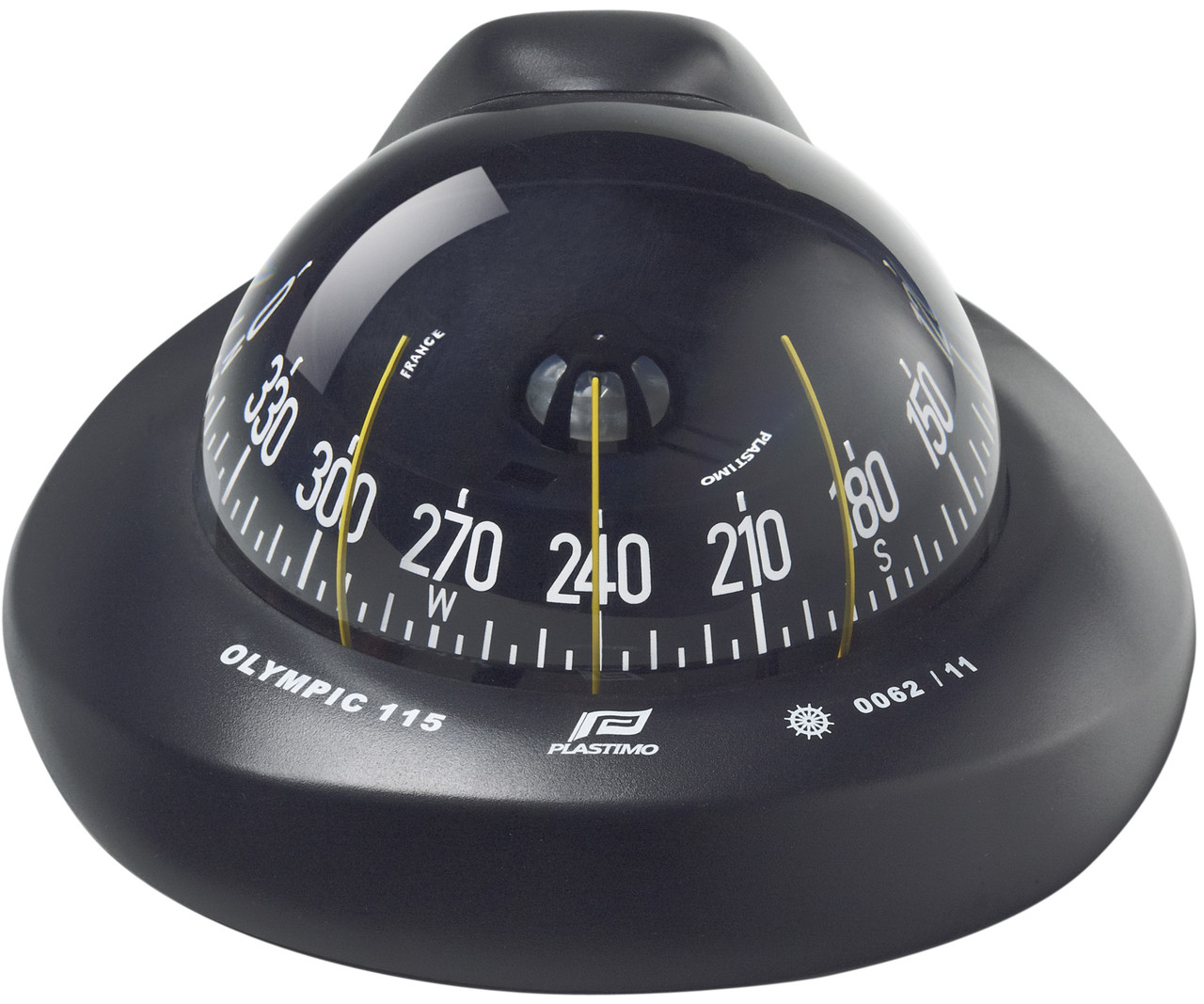 Olympic 115 Sailboat Compass Black, Inclined Flush Mount, Flat Card