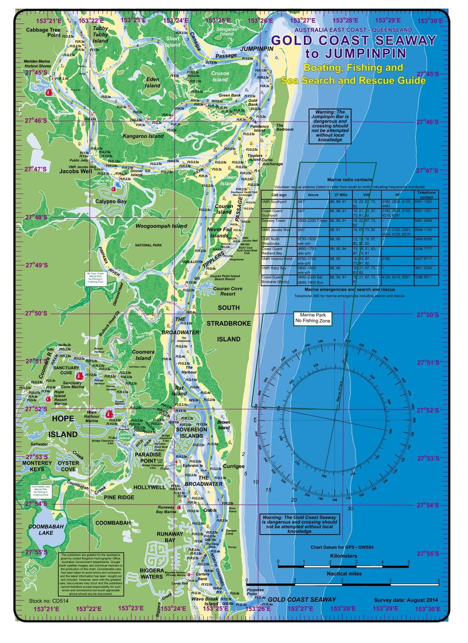 Chart - Laminated Mini Boating Guide Gold Coast - Manly