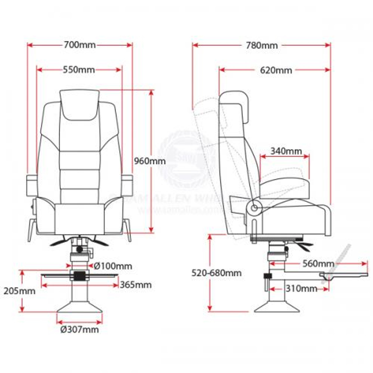 Relaxn Voyager Seat with Pedestal Dimensions