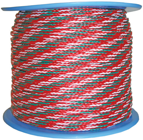Ski Rope - Fluro Red with Green and White Fleck 7.5mm x 1m