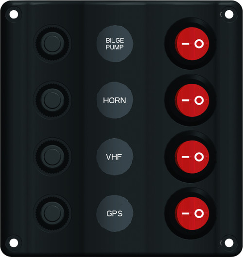 Wave Design Switch Panel with Circuit Breaker - 4 switches