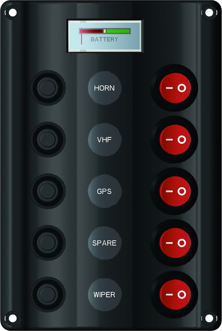 Switch Panel with Circuit Breaker 7 Battery Meter - 5 Switches