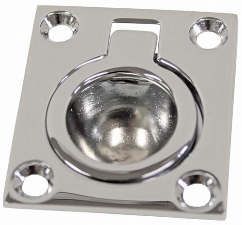 Flush Ring Pull Chrome Plated Brass 43mm x 37mm
