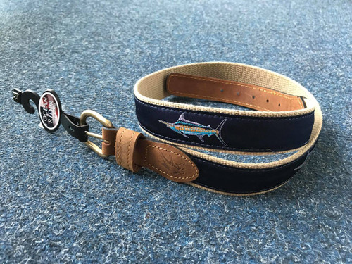 Ocean Rider Handmade Damask Woven Ribbon Belt with Blue Marlin