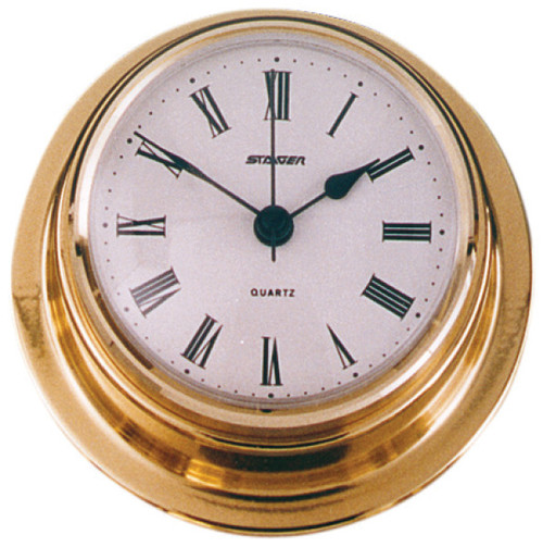 Clock - 70mm Polished Brass with Roman numerals