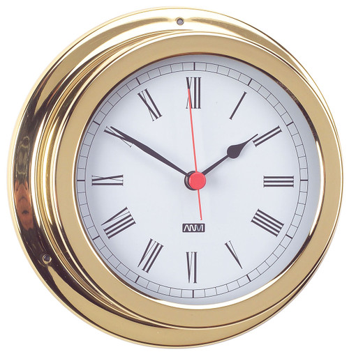 Clock - 120mm Polished Brass with Roman numerals