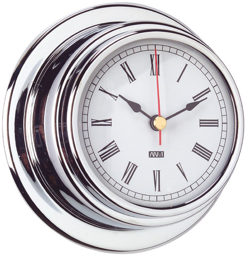 Clock - 70mm Chrome Plated Brass with Roman numerals