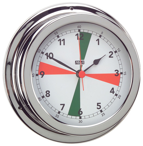 Clock - 120mm with Red/Green Radio Silence Zones Chrome Plated Brass
