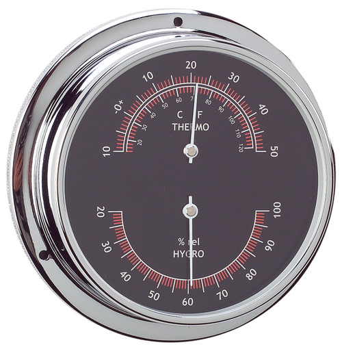 Thermometer & Hygrometer Combo - 95mm Chrome Plated Brass with Black Face