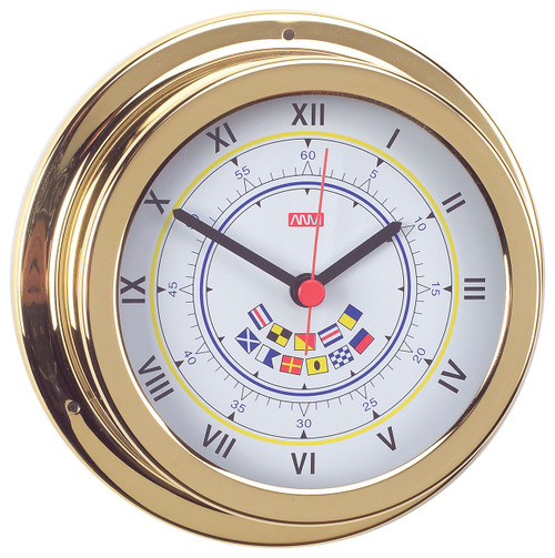 Clock - 120mm Polished Brass with Code Flags