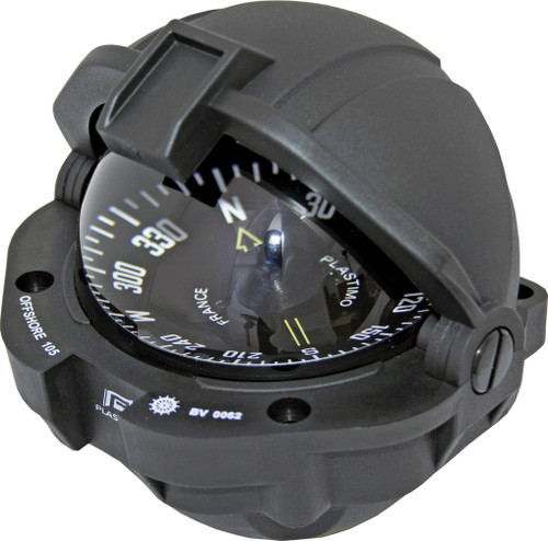 Offshore 105 Powerboat Compass Black, Flush Mount, Flat Card