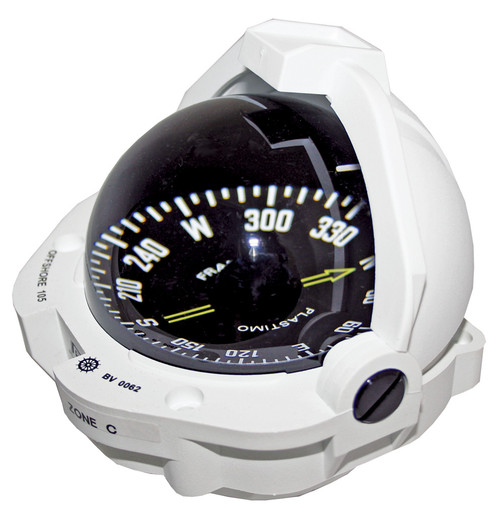 Offshore 105 Powerboat Compass White, Flush Mount, Flat Card
