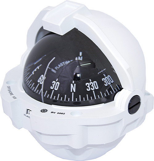 Offshore 105 Powerboat Compass White, Flush Mount, Conical Black Card