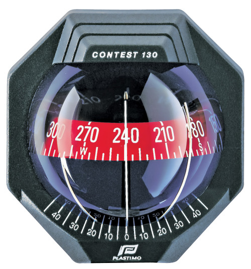 Contest 130 Sailboat Compass Black, Bulkhead  Vertical Mount, Red Card