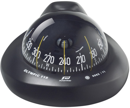 Olympic 115 Sailboat Compass Black, Flush Mount, Conical Card