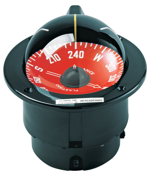 Olympic 100 Sailboat Compass Black, Red Card