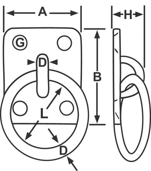 A 40mm B 50mm H 33mm L 50mm G 5mm