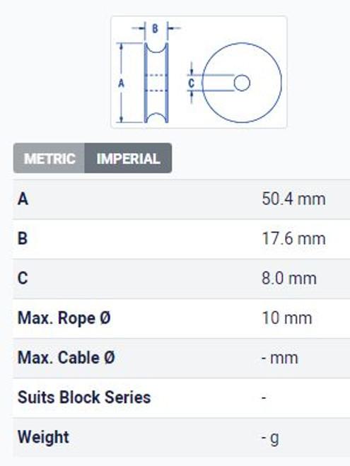 Sheave - Ball Bearing 50.4mm