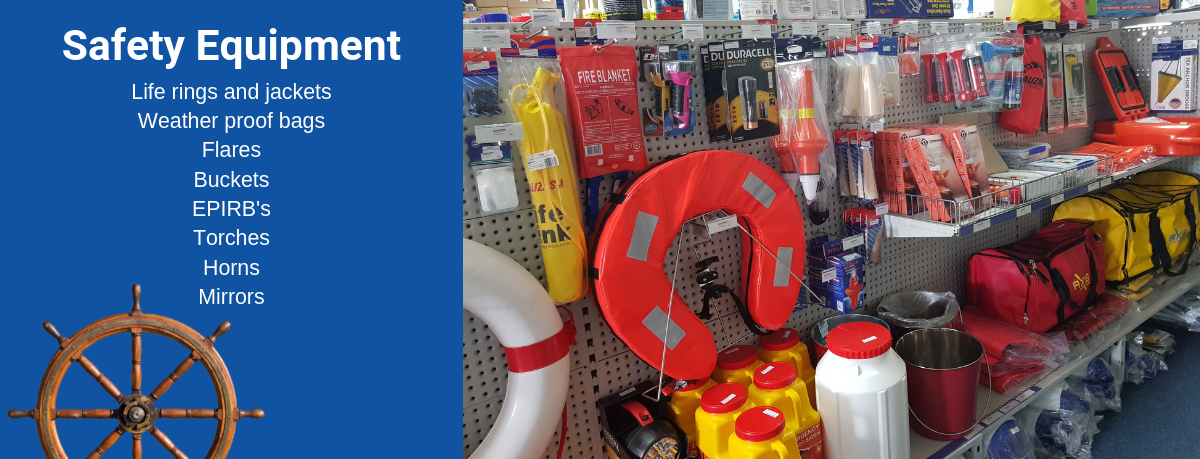 All your safety equipment from flares, EPIRBS, lifejackets, first aid kits