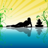 Graphic from bottle label: Illustration of a woman laying beside still water beside zen rocks