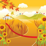 Graphic from bottle label: Illustration of a finish line on a path through fields and sunflowers