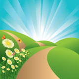 Graphic from bottle label: Illustration of a winding path through grassy hills with flowers