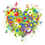 Graphic from bottle label: Illustration of  a heart made of many colorful flowers