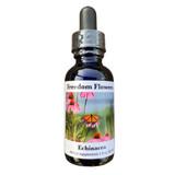 Echinacea flower essence bottle on white background